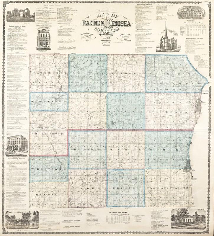 Map of Racine and Kenosha Counties, Wisconsin, 1873
