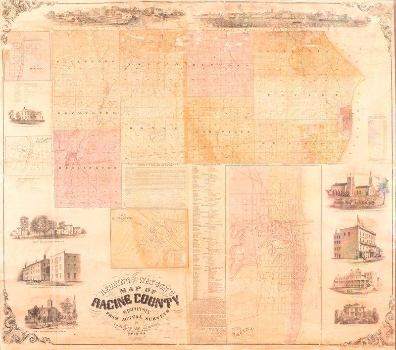 Redding and Watson's Map of Racine County, 1858
