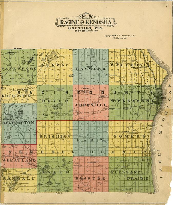 Plat book of Racine and Kenosha counties, Wisconsin 1908