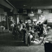 "Students in the ""Brick Factory"" student lounge"