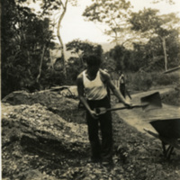 A soldier with a shovel