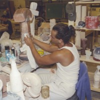 Student making a ceramic sculpture