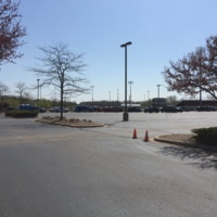 Line of cars at Burlington High School