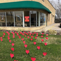Hearts on the lawn of the Academy of Dance in Racine, Wisconsin
