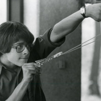 Student with Slingshot