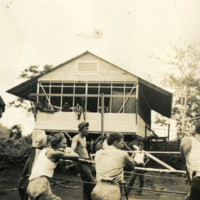 Soldiers spectating a boxing match