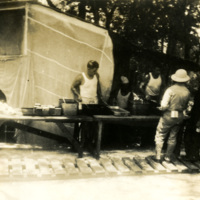 Soldiers line up for food service