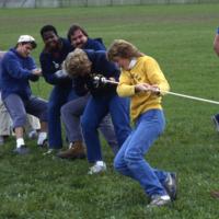 Students play tug-of-war