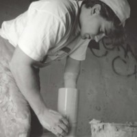 Art student working with potter's wheel