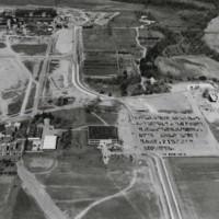 Aerial view of campus looking west