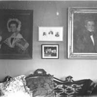 Oil paintings in sitting room, H.M. Baldwin house, 321 Chicago Street