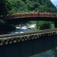Sacred bridge at Nikkō Tōshōgū with streetcar bridge
