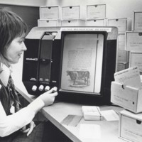 Microfiche reader in the library