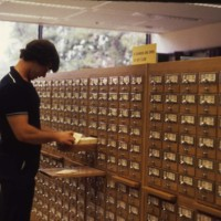 Student using a card catalogue