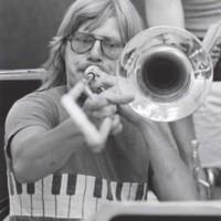Music student with trombone
