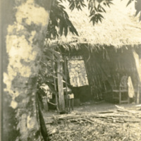 The inside of a hut