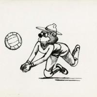 Ranger Bear playing volleyball