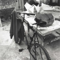 An art student with his bicycle