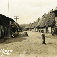 Village road and buildings