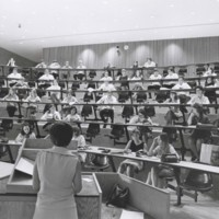 Lecture in a Greenquist Hall lecture hall