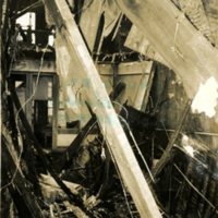 Interior view of a collapsed building