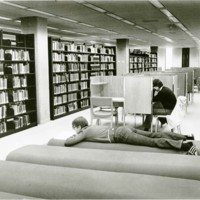 Students relaxing in the library
