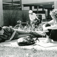 Students lounging on campus