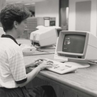 Person working in the library