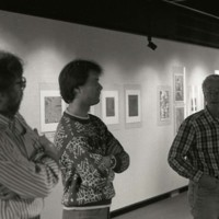 Doug DeVinny, Glen Larson, and Steven Vasy at the UW-Parkside National Small Print Exhibition
