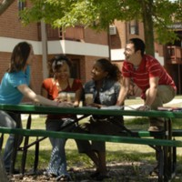 Students socializing on campus