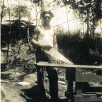 A soldier with a saw in his hand