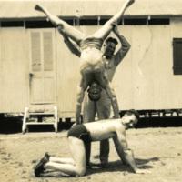 Three soldiers posing