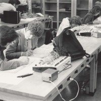 Students working in an electronics laboratory