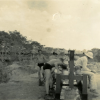 Soldiers washing themselves