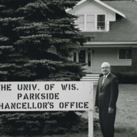 Chancellor Irvin G. Wyllie in front of the chancellor's office