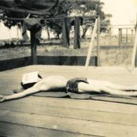 A sunbathing soldier