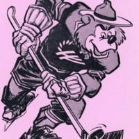 Ranger Bear playing hockey