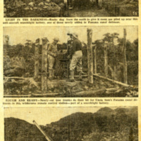 A newspaper cutout of an article about the Panama Canal defenses