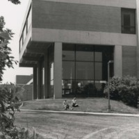 Students sitting on the lawn outside Wyllie Hall
