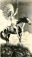 A Native American woman on a horse