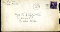 Letter from Daniel Klapproth to his mother while stationed in Fort Slocum, New York, December 16, 1939
