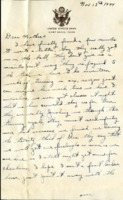 Letter from Daniel Klapproth to his mother while stationed in Camp Maxey, Texas , November 13, 1944