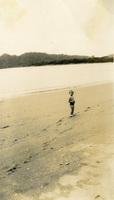 A child on the beach