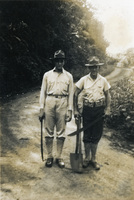 Two men on a dirt road