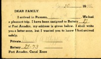 Letter from Daniel Klapproth to his mother while stationed in Fort Amador, Canal Zone, January 10, 1940