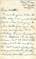 Letter from Daniel Klapproth to his mother while stationed in Fort Amador, Canal Zone, March 3, 1941