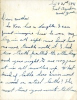 Letter from Daniel Klapproth to his mother while stationed in Fort Amador, Canal Zone, September 21, 1941