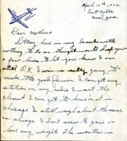 Letter from Daniel Klapproth to his mother while stationed in Fort Kobbe, Canal Zone, April 14, 1942
