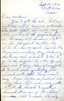Letter from Daniel Klapproth to his mother while stationed in Fort Bliss, Texas, September 29, 1943