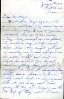 Letter from Daniel Klapproth to his mother while stationed in Fort Bliss, Texas, July 15, 1943